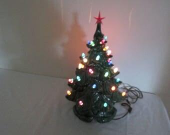 Ceramic Christmas Tree Lighted 17 Inch with Regular Light Bulb
