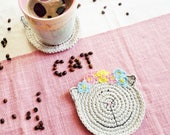 Crochet Cat Coaster - Gray Cat - Table Decor - Office Decor - Cat Lover Gift - Animal Coaster - Coffee Lover Gift -  Mother's Day Gift
