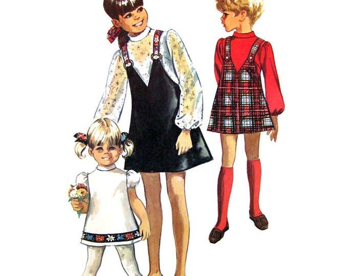 Girls Jumper Dress Pattern Simplicity 8529 Puff Sleeve Suspender Skirt Size 8 Vintage Pattern