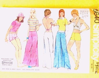 Simplicity 5640 Misses' top, halter top, shorts, and bell-bottom pants from the year 1973Vintage Sewing Pattern  Bust 36