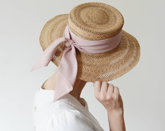 1980s Straw Sunhat with Mauve Scarf Band
