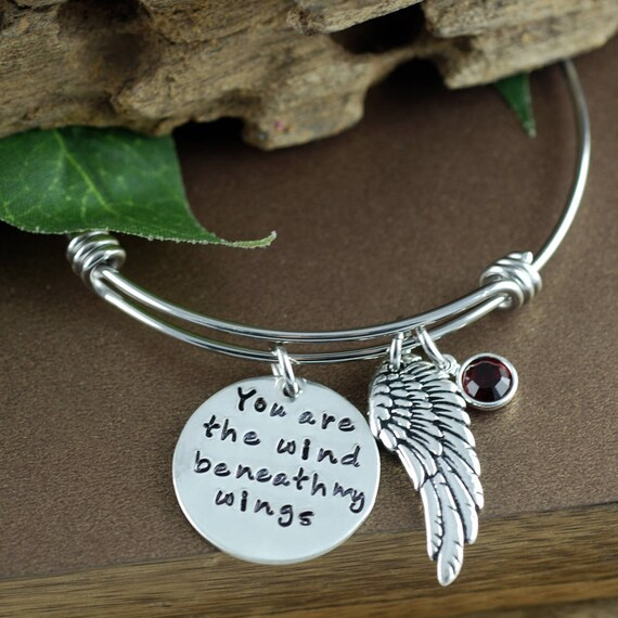 Wind beneath my wings, Bangle Bracelet, Wing Jewelry, Remembrance Jewelry, Hand Stamped Bracelet, Personalized Bangle