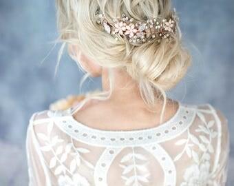 Rose Gold Hair Vine, Boho Wedding Rose Gold Wedding Hair Accessory, Wire Hair Half Halo, Boho Hair Wreath - 'VIOLETTA'