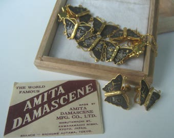 Vintage Amita Japan Inlaid Butterfly Earring and Bracelet Set Mid Century