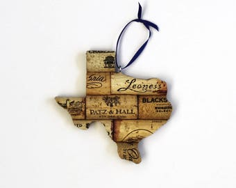 texas ornament - state ornament - wine cork ornaments - gift for wine lovers - wine gifts - rustic christmas ornaments - going away gift