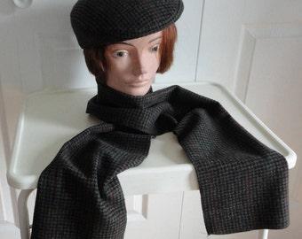 70s grey/black/red wool blend Men Cap/Hat/Scarf Medium Magill Made in Canada Medium
