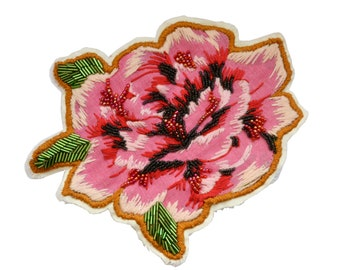 Flower applique handmade beaded hand-stitched seed beads bugle chita Brazilian fabric flower patch large size