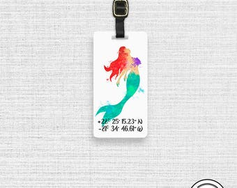 Luggage Tag Mermaid Watercolor Luggage Tag with Custom Info On Back  Single Tag Princess Coordinates