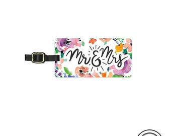 Luggage Tag Mr and Mrs Watercolor Floral Personalized Luggage Tag  Metal Luggage Tag  Custom Info On Back, Single Tag