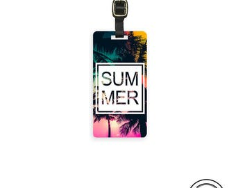 Luggage Tag  Summer Nights Palm Trees  Metal Luggage Tag  With Printed Custom Info On Back, Single Tag