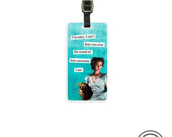 Luggage Tag Sound of Awesome Sassy Retro Woman Metal Luggage Tag Printed Personalized Custom Info On Back Single Tag