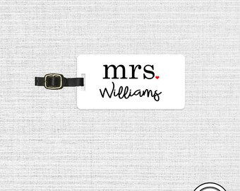 Luggage Tag Mrs Last Custom Name Luggage Tag Metal Tags, Single Tag With Strap