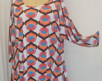 Plus Size Top, Coco and Juan, Lagenlook, Plus Size Tunic, Orange Pink Print, Knit Drape Side, Tunic Top, One Size, Bust  to 60 inches