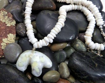 Bear Pendant on a Puka Shell Choker, Mother Bear Jewelry, White Medicine Bear, Spirit Bear, Polar Bear Pendant, Alaskan Cruise Jewelry