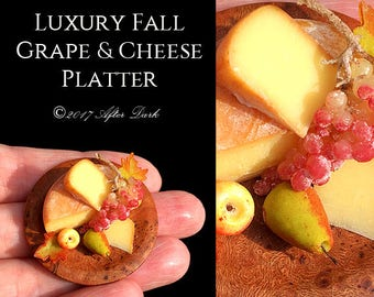 Luxury Fall Cheese & Grape Platter - Set On a Fine Burl Artisan Platter - Food in 12th scale. From After Dark miniatures.