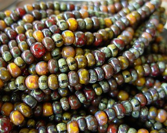 "Picasso Seed Beads, 6/0 Czech Seed Beads, Aged Picasso- Calico Corn Striped Mix (1/20"") #616"