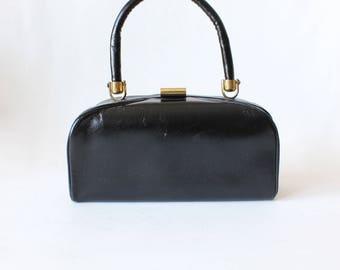 Vintage 1950s Paristyle Black Top Handle Bag