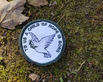 To Us a Child of Hope is Born Christmas Ornament Patch Sew on Embroidered Patch or Magnet Made in the USA Handmade Gift