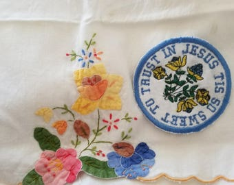 Tis So Sweet To Trust in Jesus Hymn Ornament Patch Sew on Embroidered Patch or Magnet Made in the USA Handmade Gift