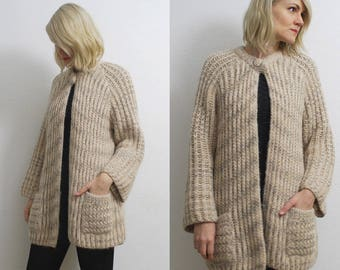 70s long open front cardigan. chunky knit cardigan. cream boho cardigan - one size
