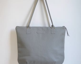 Nana large leather dart tote: Perforated grey