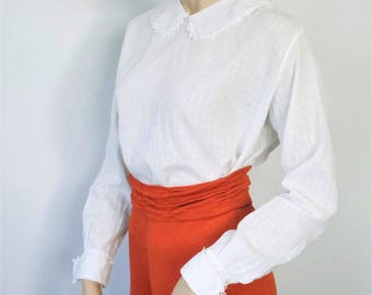 1900's White Blouse Whisper Cotton Edwardian Long Sleeve Lace Trimmed Top Size Small