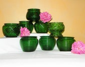 8 Vintage Green Glass Coordinating Planters