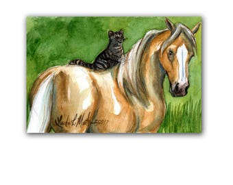 Tabby Cat Palominio Horse Pony New Mom Nursery Baby Artwork  LLMartin Original Watercolor Painting Free Shipping USA