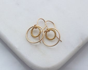 Small Gold Circle earrings - double circle drop earrings