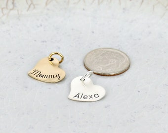 Personalized tiny heart name charm • 14x15mm sassy heart charm • Engraved Charm • Personalized Charm • Name Charm • Silver or gold filled