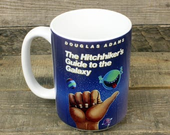 Hitchhiker's Guide to the Galaxy coffee mug Book Gifts under 15 Librarian Gifts for Teachers Tea 15 oz ceramic mug Douglas Adams scifi