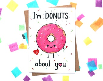 I'm Donuts About You Card, I Love You Card, Anniversary Gift for Girlfriend, Pink Donut with Sprinkles