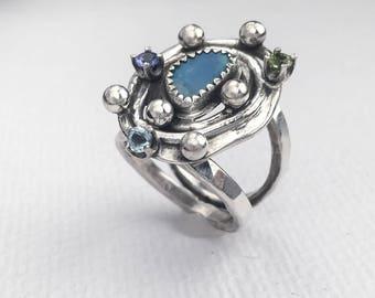 Opal Statement Ring - Opal, Tanzanite, Peridot, Blue Topaz and Sterling Silver Ring - Multi Stone Ring - Gemstone Ring - Big Silver Ring