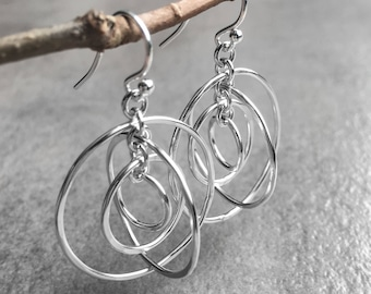 Dangling Orbit Earrings - Modern Sterling Silver Hoop Earrings with Beautiful Movement and High Shine - Everyday Silver Jewelry