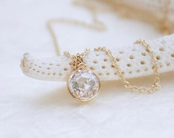 Double Rose Cut Cubic Zirconia and 14k Yellow Gold Fill Solitaire Necklace - Eco Friendly and Ethical Recycled Gold