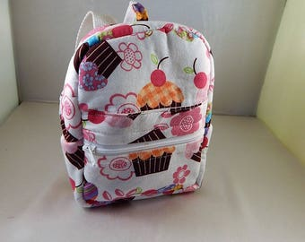 Mini backpack Child School Pretend Back Pack Play Doll Play Pink Cupcake Print Ready to ship Accessories Pencil Bag Set