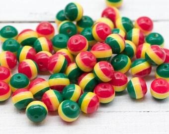 Round Rasta Beads, 50pcs, 10mm, Red Yellow Green, Striped Beads,   Rasta Colors, Acrylic Beads -B146