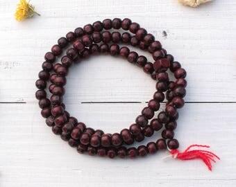 Red Wood Beads, 8mm Beads,  108  Beads,   Yoga  Beads, Prayer Beads -B1053