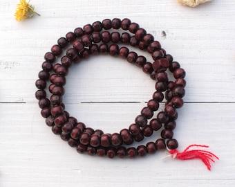 Wood Mala Beads, 8mm Beads,  108  Beads,    Prayer Beads, Beads With Tassel -B1053