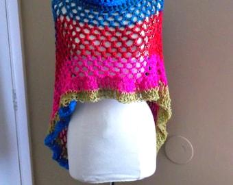 Hand Crochet Circular Poncho, Light weight,