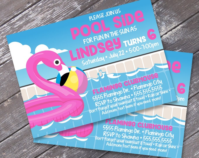 Flamingo Party Invitation - Flamingo Birthday, Flamingle, Pool Party, Summer Party  | Editable Text - Instant Download PDF Printable