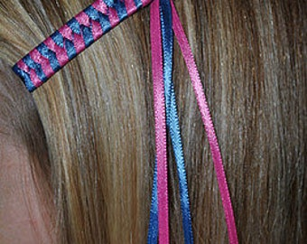 Braided Ribbon Barrettes - Set of 2 Barrettes