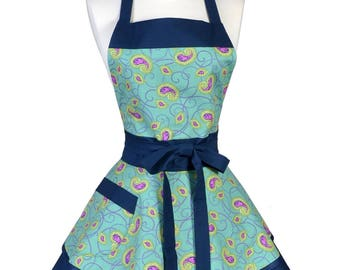 Womens Ruffled Retro Apron in Aqua Navy Paisley Cute Flirty Vintage Style Kitchen Apron to Personalize or Monogram (DM)