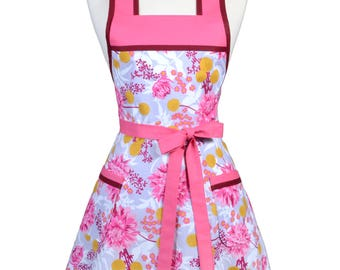 Pink Lavender Floral with Berry Womens 50s Retro Vintage Kitchen Apron with Pocket and Personalized Monogram Option