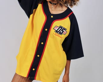 Vintage 1990's Colorblock Unisex Baseball Jersey Streetwear Style Top