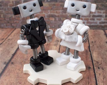Robot Wedding Cake Topper READY TO SHIP Cute Bots Classic Tux and Pearls (4.5  inches)