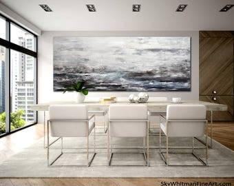 Large panoramic painting huge 32 x 80 wall art original abstract art contemporary oil painting blue abstract canvas design by Sky Whitman