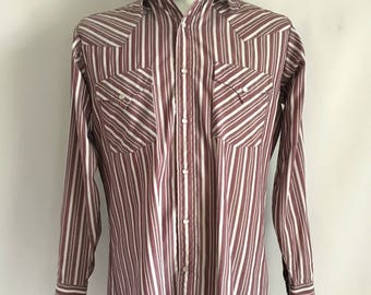Vintage Men's 90's Ely Cattleman, Western Shirt, Striped, Snap Button, Long Sleeve (M)