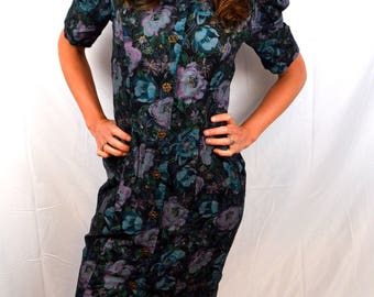 Vintage All that Jazz Fitted Floral Big Bow Party Dress