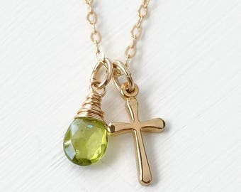 Small Gold Filled Cross Necklace with Birthstone for August Peridot / Christian Jewelry / Confirmation Gifts for Women Teen Girls